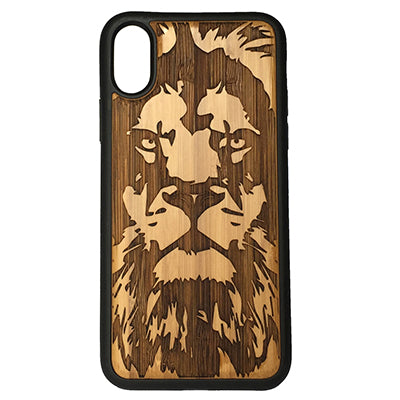 Lion iPhone Case Cover for iPhone X by iMakeTheCase Eco-Friendly Bamboo Wood Cover + TPU Wrapped Edges Big Cat Feline King of the Jungle Spirit Animal Totem Guardian Leo Africa