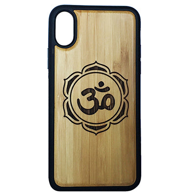 OM Lotus Flower iPhone Case Cover for iPhone X by iMakeTheCase Eco-Friendly Bamboo Wood Cover + TPU Wrapped Edges