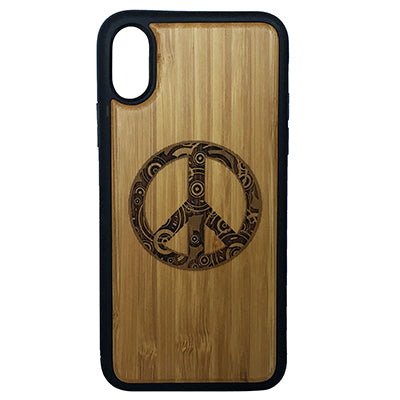 Peace Sign iPhone Case Cover for iPhone X by iMakeTheCase Eco-Friendly Bamboo Wood Cover + TPU Wrapped Edges Retro Hippie Chic Peaceful Ornamental Symbol
