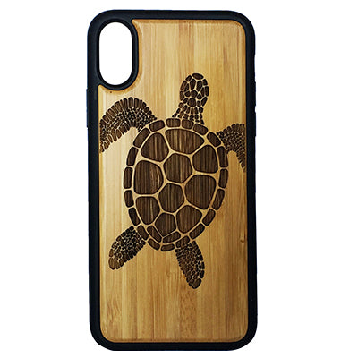 SEA TURTLE iPhone Case Cover for iPhone X by iMakeTheCase Tribal Tattoo Ocean Sea Hawaiian Honu Eco-Friendly Bamboo Wood + TPU Wrapped Edges Cell Phone Cover