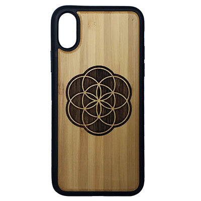 Flower of Life iPhone Case Cover for iPhone X by iMakeTheCase Eco-Friendly Bamboo Wood Cover + TPU Wrapped Edges