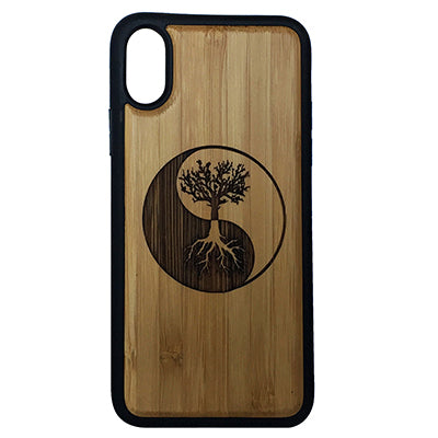 Tree of Life iPhone Case Cover for iPhone X by iMakeTheCase Eco-Friendly Bamboo Wood Cover + TPU Wrapped Edges Yin Yang Symbol Spirituality Zen Underworld Cosmos Knowledge