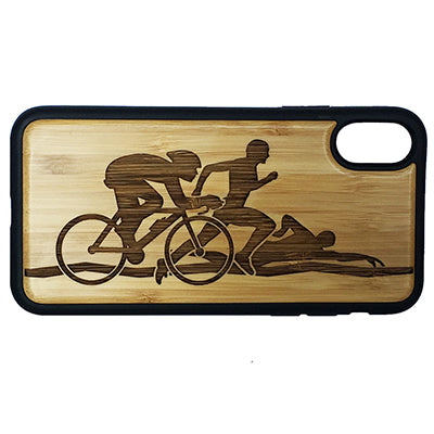 Triathlon iPhone Case Cover for iPhone X by iMakeTheCase Eco-Friendly Bamboo Wood Cover + TPU Wrapped Edges Swim Cycle Run Bicycling Running Swimming Cyclist Athlete Sport