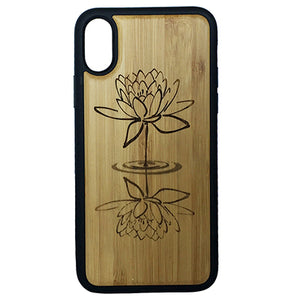 Lotus Flower iPhone Case Cover for iPhone X by iMakeTheCase Eco-Friendly Bamboo Wood Cover + TPU Wrapped Edges Water Reflection Yoga Zen Spiritual Enlightenment Buddhist Awakening