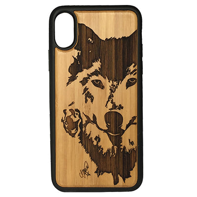 Wolf Rose iPhone Case Cover for iPhone X by iMakeTheCase Eco-Friendly Bamboo Wood Cover + TPU Wrapped Edges Native American Spirit Animal Totem