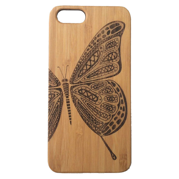 Butterfly Laser-Engraved Case for iPhone 8, 8 Plus, 7, 7 Plus, 6, 6S, 6 Plus, 6S Plus, SE, 5, 5S