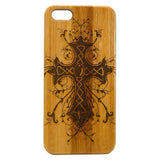 Celtic Cross iPhone Case | 8, 8 Plus, 7, 7 Plus, 6, 6S, 6 Plus, 6S Plus, SE, 5, 5S, 5C. Bamboo Wood Cover. Religious Irish Catholic God Jesus. By iMakeTheCase
