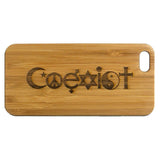 Coexist Laser-Engraved Case for iPhone 8, 8 Plus, 7, 7 Plus, 6, 6S, 6 Plus, 6S Plus, SE, 5, 5S Bamboo Wood Cover