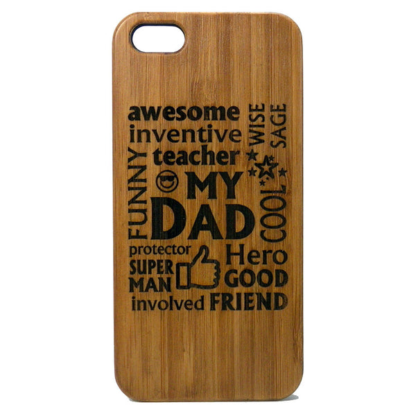 Dad Laser-Engraved Case for iPhone 8, 8 Plus, 7, 7 Plus, 6, 6S, 6 Plus, 6S Plus, SE, 5, 5S