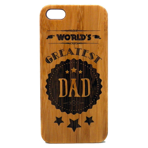World's Greatest Dad iPhone Case | 6, 6S, 6 Plus, 6S Plus, SE, 5, 5S, 5C. Bamboo Wood Cover. Father's Day Gift Daddy Dad Birthday Present. By iMakeTheCase