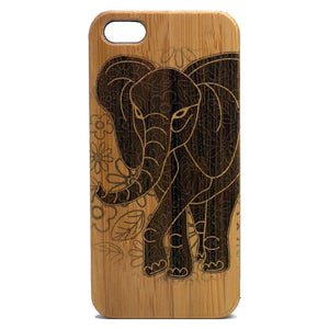 Elephant Laser-Engraved Case for iPhone 8, 8 Plus, 7, 7 Plus, 6, 6S, 6 Plus, 6S Plus, SE, 5, 5S Bamboo Wood Cover