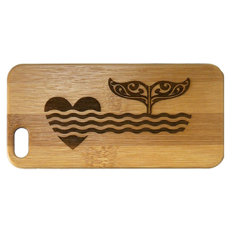 Whale Fluke iPhone Case | 6, 6S, 6 Plus, 6S Plus, SE, 5, 5S, 5C. Bamboo Wood Cover. Ocean Love Tribal Art Seaside Nautical Dolphin Tail Heart Love. By iMakeTheCase