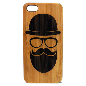 Hipster iPhone Case | 8, 8 Plus, 7, 7 Plus, 6, 6S, 6 Plus, 6S Plus, SE, 5, 5S, 5C. Bamboo Wood Cover. Beard Mustache Glasses Face Hat. By iMakeTheCase