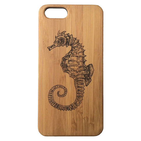 Seahorse iPhone Case | 8, 8 Plus, 7, 7 Plus, 6, 6S, 6 Plus, 6S Plus, SE, 5, 5S, 5C. Bamboo Wood Cover. Sea Horse Spirit Animal Totem Nautical Ocean. By iMakeTheCase