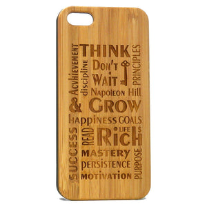 Think & Grow Rich iPhone Case | 8, 8 Plus, 7, 7 Plus, 6, 6S, 6 Plus, SE, 5, 5S Bamboo Wood Cover