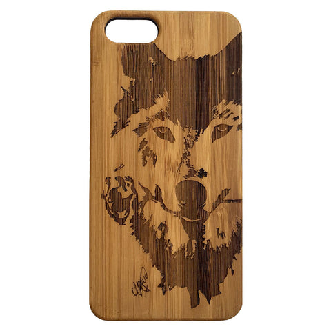 Wolf Rose iPhone Case | 7, 7 Plus, 6, 6S, 6 Plus, 6S Plus, SE, 5, 5S, 5C Bamboo Wood Cover. Wild Dog Spirit Native Canine Flower. By iMakeTheCase