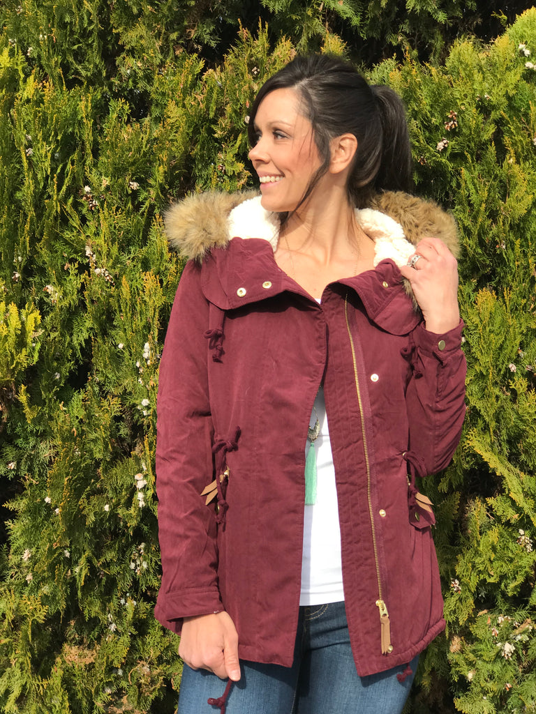 Ashlynn Anorak Jacket Cranberry - Ava Rae Boutique