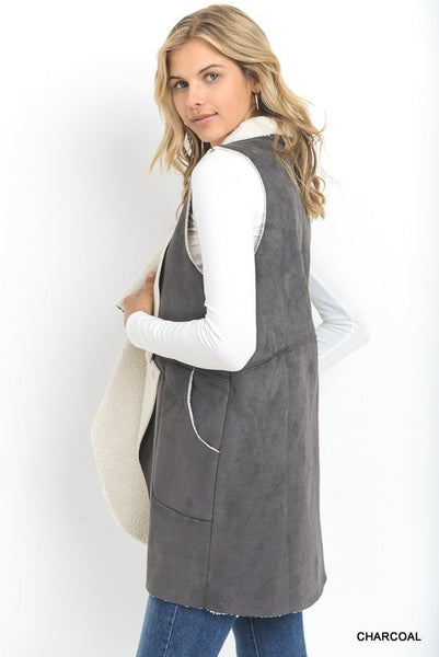 Janis Grey Shearling Suede Vest - Ava Rae Boutique