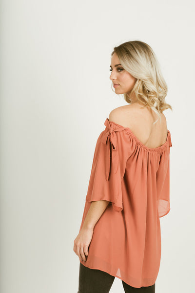 Dusty Rose Off the Shoulder - Ava Rae Boutique