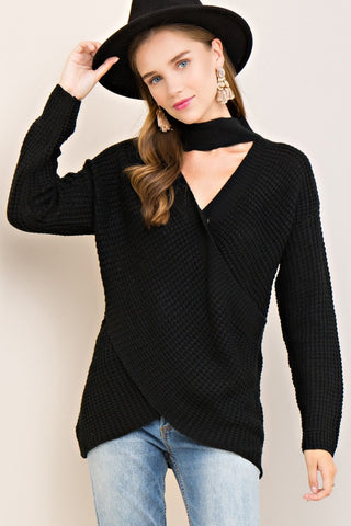 Criss Cross Black Sweater - Ava Rae Boutique