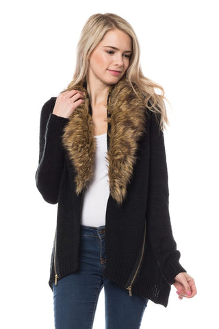 Faux Fur Black Sweater - Ava Rae Boutique