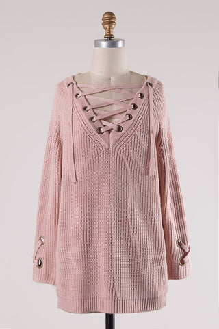 Lace It Up Lovely Sweater-Pink Blush
