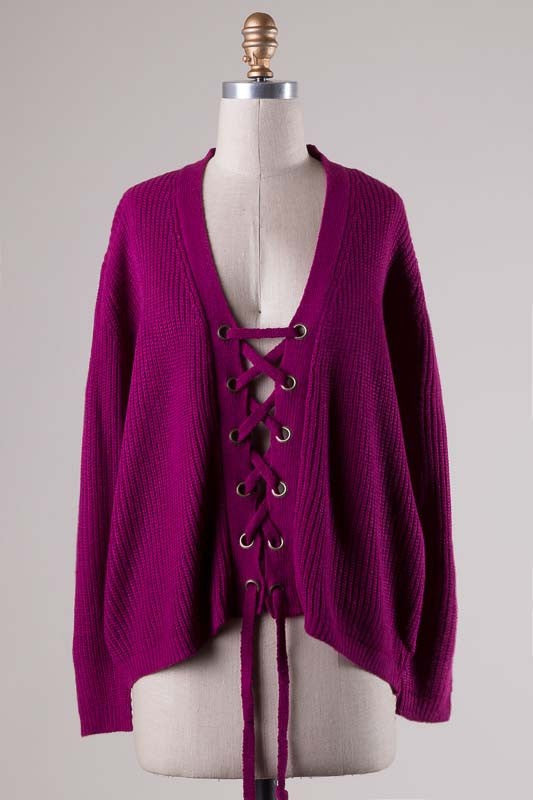 Magenta Lace UP Sweater - Ava Rae Boutique