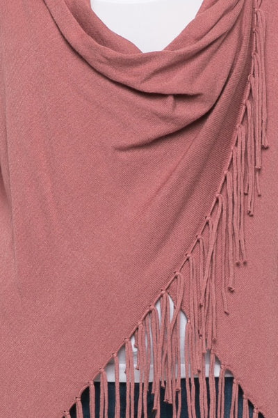 Dusty Rose Fringed Sweater - Ava Rae Boutique