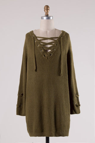 Lace It Up Lovely Sweater-Moss Green