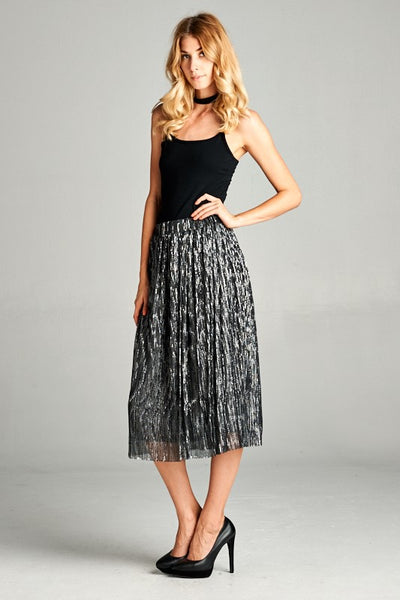 Metallic Silver Pleated Skirt - Ava Rae Boutique