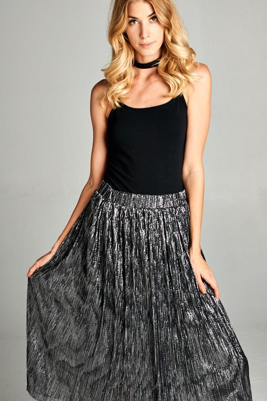 Metallic Silver Pleated Skirt
