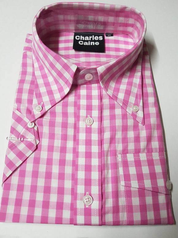 Charles Caine pink gingham shirt
