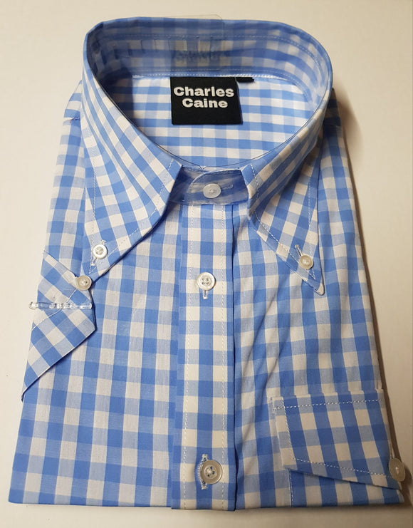 Charles Caine Pale Blue gingham shirt