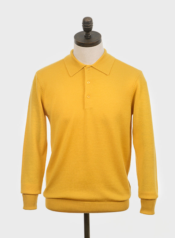 Art Gallery 'Mason' mustard long sleeve polo knit