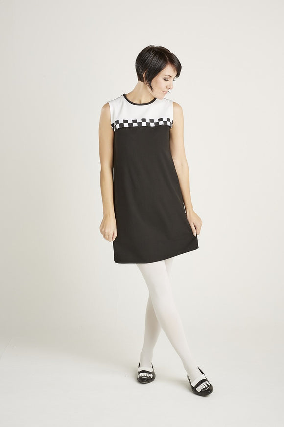 Love Her Madly 'Sandy' Chequered trim dress