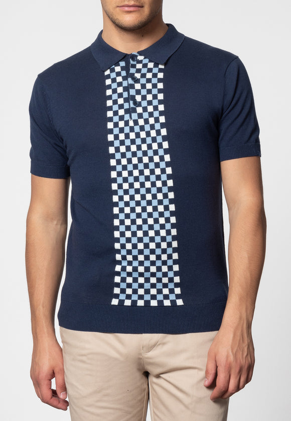Merc Jarvis Knitted Polo, Navy
