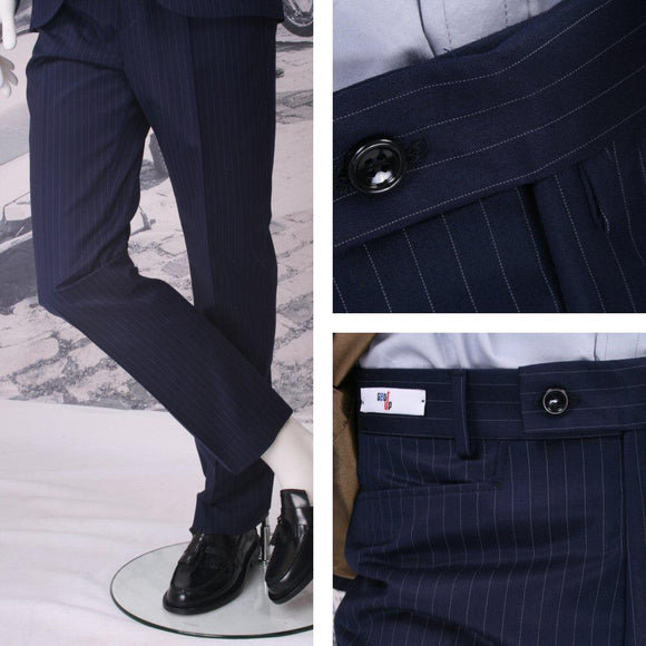 Get Up frogmouth sta prest trousers navy pinstripe