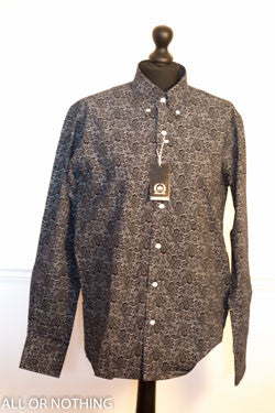 SALE! Relco Long sleeved shirt with Black Paisley design - MS6/14