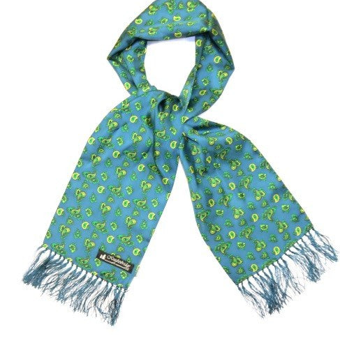 Knightsbridge Neckwear Paisley turquoise and yellow pais5