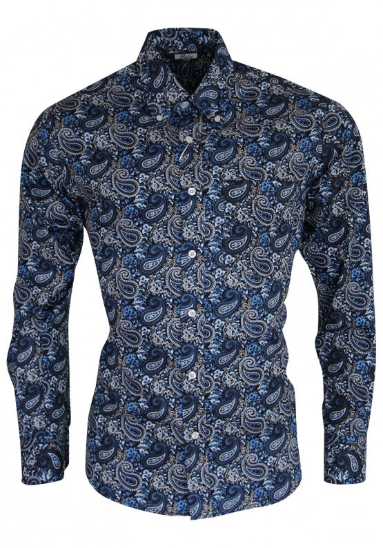 SALE! Relco Platinum Collection blue paisley shirt