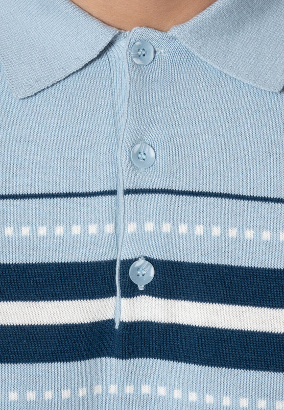 Merc Tanner Knitted Polo - pale blue