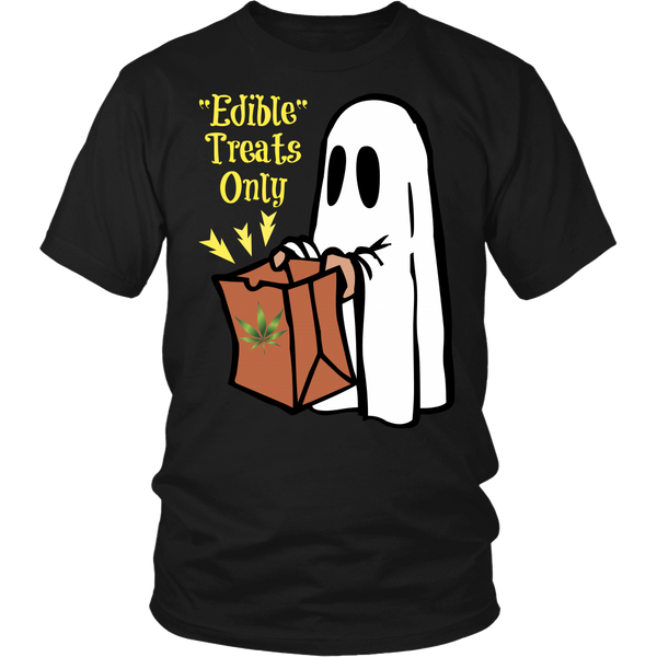 Unisex Edible Treats Only Halloween Shirt - Yellow Letters