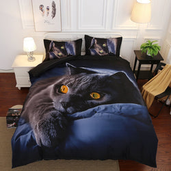 3D Black Cat Print Duvet Cover with Pillow Cases