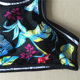 Halter Top Activewear Bikini Swimsuit High Neck - Floral Design - Bikini - I Sell Goods - 4
