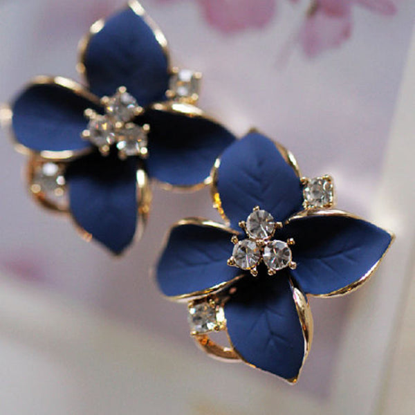 Leafy Clover Flower Rhinestone Studs - Earrings - I Sell Goods
