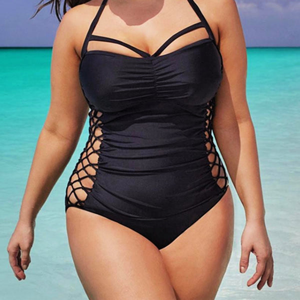 Sexy Black Plus Size Lace Up Side Strap Swimsuit