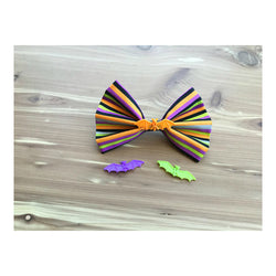 Handmade Hair Bow - Multi Strip Halloween Theme w/ Bats
