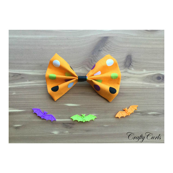 Handmade Hair Bow - Polka Dot Halloween Theme w/ Bats