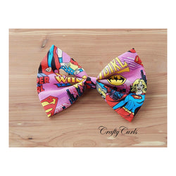 Handmade Hair Bow - Super Women Collage