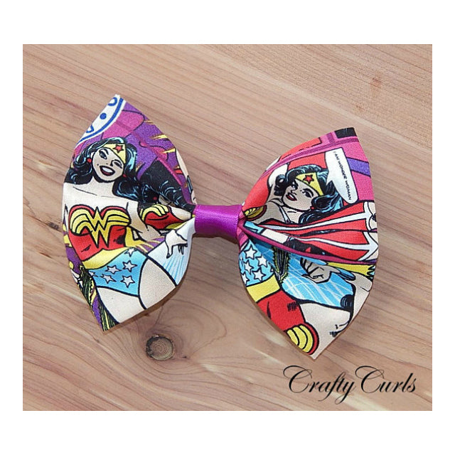 Handmade Hair Bow - Wonder Woman